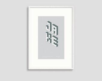 Baby Name Poster - Block Series - A4 Grey