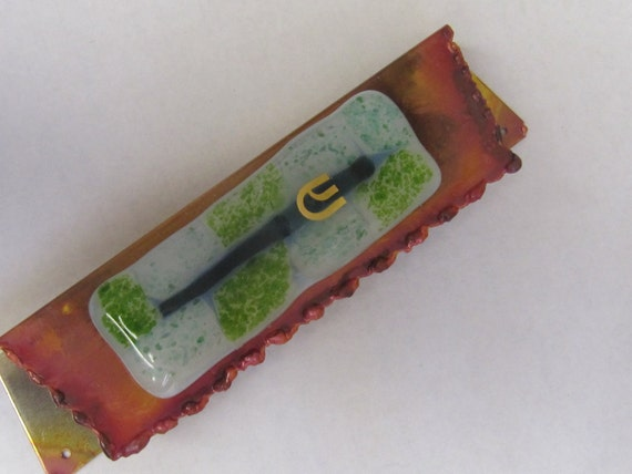 Green Fused Glass Mezuzah Benefiting Victims of Domestic Abuse