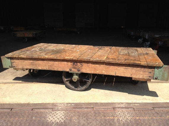 Unrestored Antique Factory Cart - Jakes of Nashville, TN - Coffee Table or Media Console
