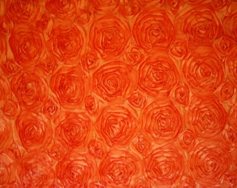 "Shiny Orange Floral 3D Flower Fabric Rose Rosette - 54"" Width 4.44 yards available"