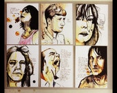 6 Postcards of Original Art Portraits with Quotes