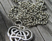 Silver Plated Celtic Heart Pendant Necklace