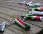 Green, Red, and White Repurposed Aluminum Necklace