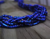 Doctor Who TARDIS Blue Handmade Six Strand Beaded Braid Necklace