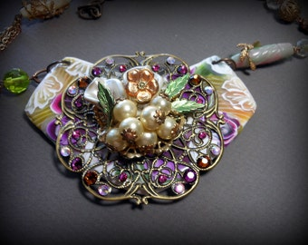 Mixed media, one of a kind flower necklace