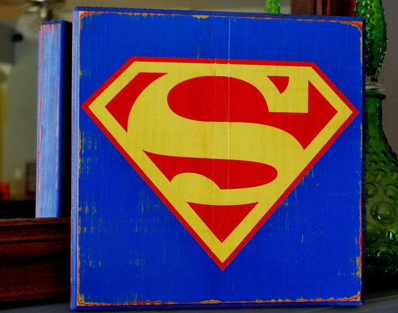 Superman logo, Hand-painted wood sign, Superman Wall Decoration, Geek sign