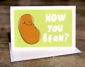 How you bean - 3.5 x 5.5in - Mexican bean  - hello card -blank - white envelope