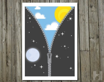 Night and Day - 8.3x11.7 print - Sun - Moon - Stars - Sky - Zipper - Blue - Yellow -White