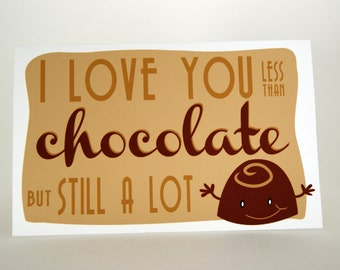 Chocolate lover - I love you card - 3.5 x 5.5 inch - Dark chocolate - blank card - brown - beige - funny character - white envelope