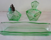 Vintage Art Deco Green Glass Perfume Vanity Set from France- Perfect Condition - 4 TREASURY LISTS
