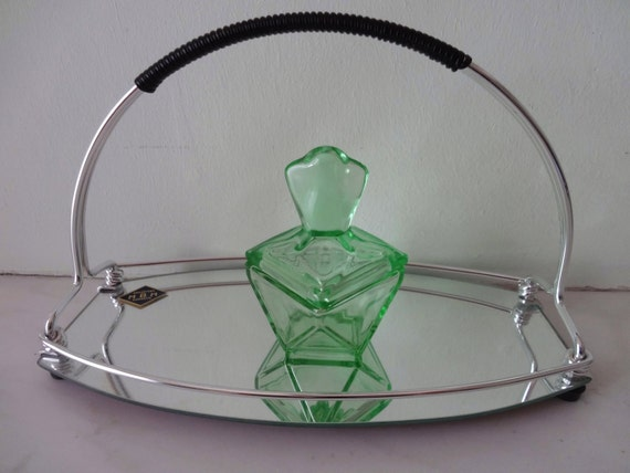 RESERVED FOR F - Vintage Art Deco Mirror Tray with Handle from France 1950s