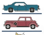 "Cross Stitch PDF Pattern, Classic Cars, 3""x4.5"", Sampler"