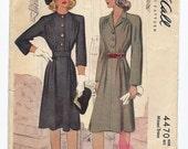 Vintage McCall Dress Pattern, 1941, Size 12 Bust 30, Uncut