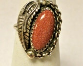Sterling Silver polished goldstone tribal ring with feather accent sz5.5