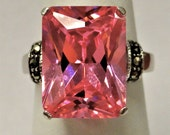 Sterling Silver large pink cocktail ring marcasite 1950s sz 7
