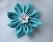 Turquoise Kanzashi Hair Clip - Satin Blossom Flower with jewel center