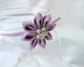 Lavendar Kanzashi flower with vintage style button - Satin Head Band
