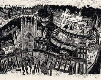 Bath Times- Bath, England. Mounted print.