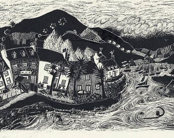 Plockton, Scotland. Mounted print.