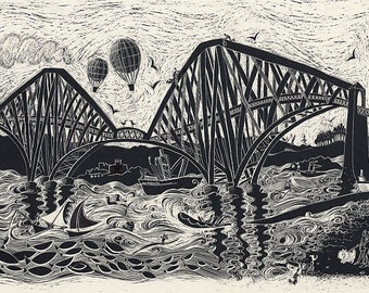 Steaming over the bridge. Scotland. Framed print.