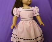 Pink mid-1800's Day Dress with Pleated Bodice for American Girl Doll