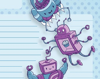 PDF Printable Cute (Kawaii) Robot Stationery