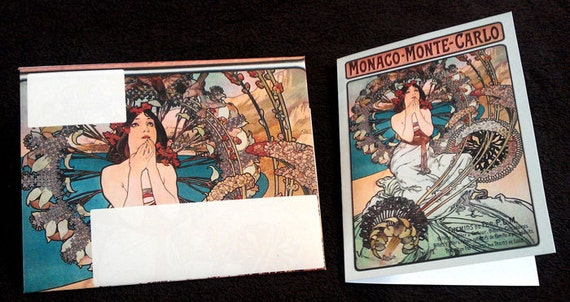 Alphonse Mucha DIGITAL Printable Greeting Card and Matching Envelope 5-Pack Set-02.