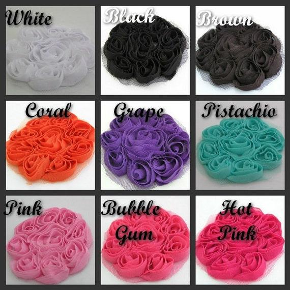Chiffon Flower Baby Headbands DIY Large Shabby Chiffon Rosette Fabric Flower Applique Flower Embellishment- 3 Pieces- You pick Your Colors