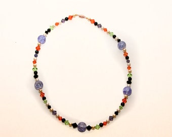 Red, Green, Black, and Purple Glass Bead Necklace