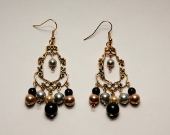 Silver, Gold, and Copper Colored Earrings