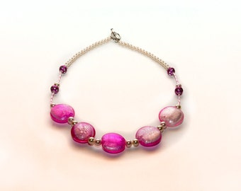 Pink Glass Bead Pillow Necklace