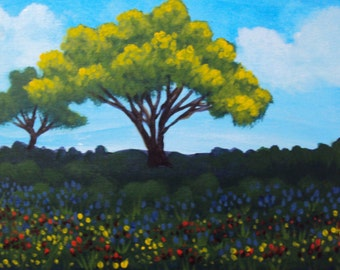 Sunny Summer Flower Meadow 9 X 12 Panel Painting