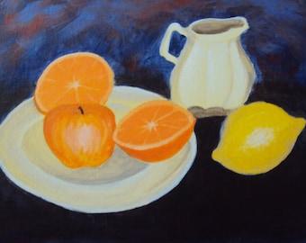 Citrus Tea Party Still Life 9X12 panel painting