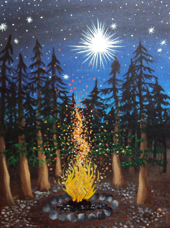 Sparkling Campfire Cradled in Pines with a Glittering Sky 8 Campfire Painting