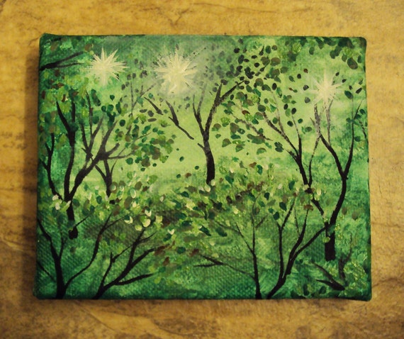 Original 4 X 5 Spirits in the Forest Painting