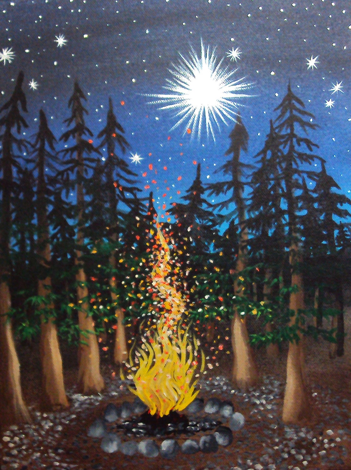 Sparkling Campfire Cradled in Pines with a Glittering by ... Campfire Painting
