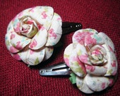 Set of 2 Pink and White Paper Rose Hair Clips