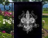 Victorian Fleur De Lis New Small Garden Yard Flag, Cool Tattoo Art Gothic
