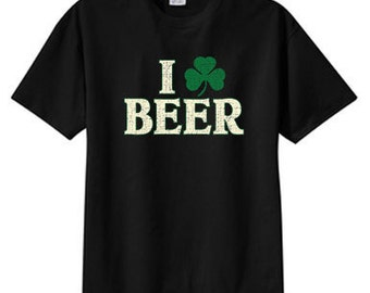 Shamrock I Love Beer, Free Shipping, All Sizes, S M L XL 2X 3X 4X 5X Unisex Crew Neck T Shirt