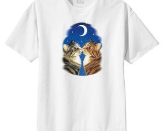Moonlight Kiss Cats New T Shirt, S M L XL 2X 3X 4X 5X, Catering To Plus Size