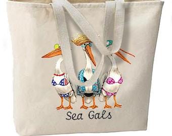 Sea Gals Pelicans Oversize Tote Bag Beach Travel Shop DESIGN BOTH SIDES