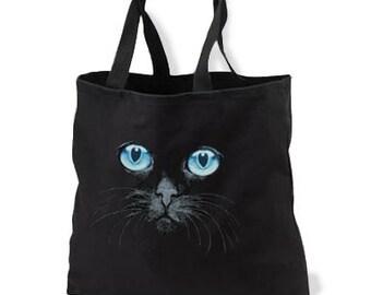 Black Cat Blue Eyes New Black Tote Bag, Unique