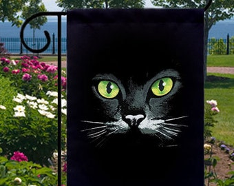 Green Eyes Black Cat New Small Garden Yard Flag, Uniquely Cool Design