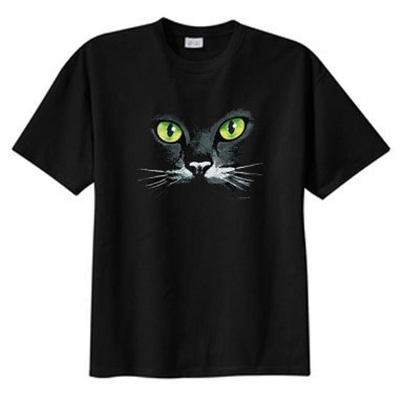 Black Cat Green Eyes T Shirt, S M L XL 2X 3X 4X 5X