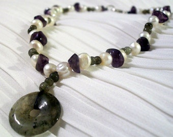 Labradorite, Amethyst and Freshwater Pearl Necklace