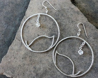 Silver Leaf Large Hoops, Silver Eco Friendly Hoop Earrings, White Topaz Hoop Earrings