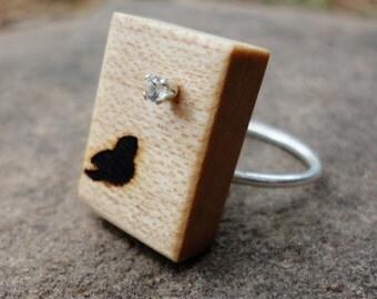 Wood Handmade Little Bird Silver Ring