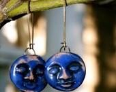 Blue Face Ceramic Dangle Earrings