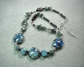 Lampwork Necklace with Sterling Silver and Agate - Aquarius