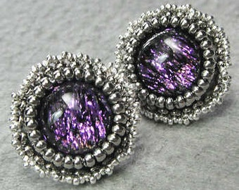 Alessandra - Purple Dichroic Beaded Earrings With Quick-Change Posts and Convertible Dangles